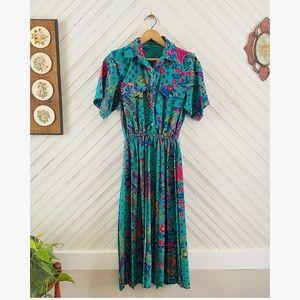 1970's Teal & Paisley Dres Dress